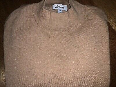 Brioni Tan Mock Neck Sweater Cashmere Silk Blend Made in Italy Size 40US 50EU