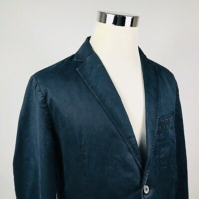 Hugo Boss Mens 44R Sport Coat Capro D Navy Blue Cotton Casual Two Button Vented