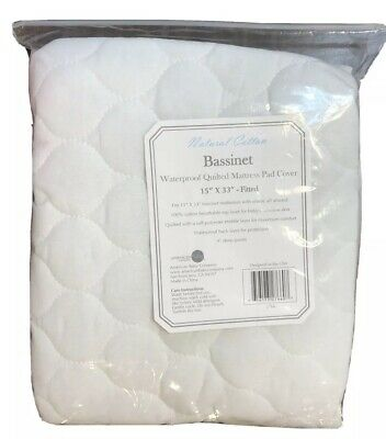 "American Baby Waterproof Quilted Mattress Pad Cover 4 Bassinet Fitted 15"" X 33"""