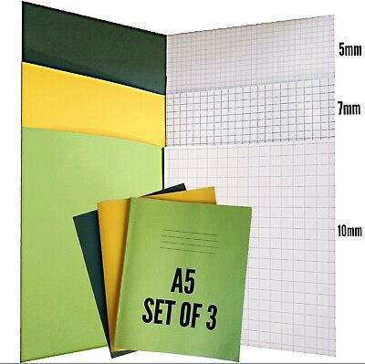 3 x School Exercise Note Book 5mm, 7mm, 10mm Squares  A5+A4 Maths Graph 48 Pages