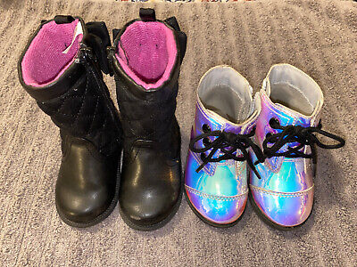 Two Pairs Of Toddler Girls Size 4 Boots - Koala Kids and Wonder Nation