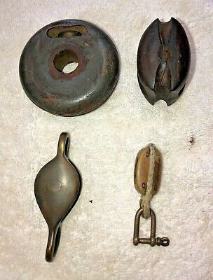 Vintage Small Brass & Timber Pulleys