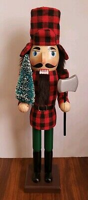 "Lumberjack Nutcracker Wooden Red Black Plaid 16""  Christmas Holiday Decorative"