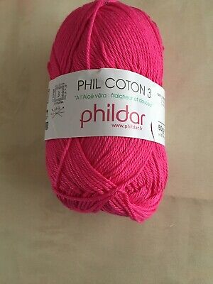 Lot De 4 Pelotes Phil Coton 3 Coloris Œillet Fuchsia Phildar