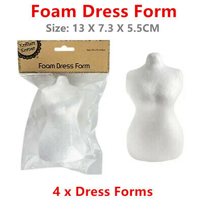 4 x White Polystyrene Foam Dress Mannequin Torso Styrofoam Art Decoration DIY