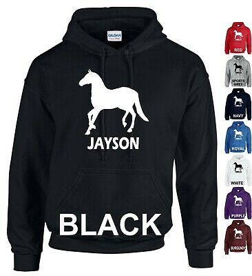 Personalised Hoodie Add Name Horse Riding Boys Girls Horse Lover Adults Kids Top
