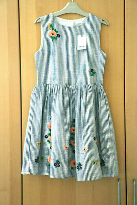 Next Girls Blue Stripe Embroidered Dress Age 10 Years BNWT Tag £30