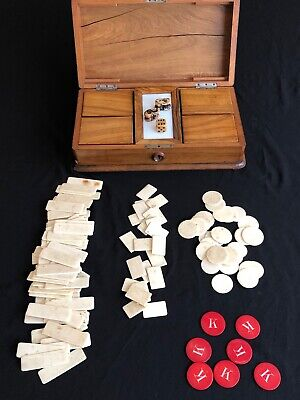 Bone Gaming Counters Antique Chinese Games Box Box with 4 Interior Wooden Boxes