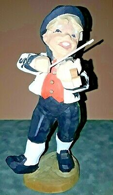 """HENNING   *FIDDLER* Hand Carved Wood  Norway Folklore  LARGE!!!  8.25"""" Tall"""