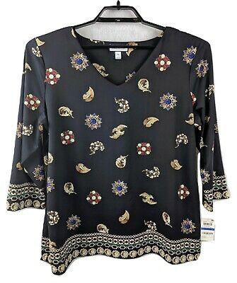 Charter Club Womens XL V-neck Black Jewels and Feathers 3/4 Sleeve Blouse Top