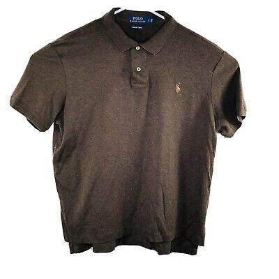 Polo Ralph Lauren Mens Large Brown Pima Soft Touch Short Sleeve Polo Shirt