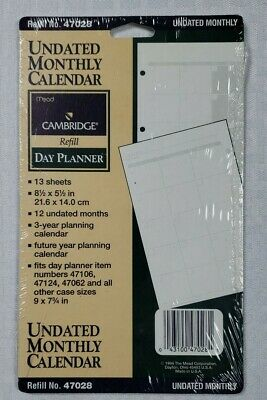 Mead Cambridge Undated Monthly Calendar Day Planner Refill Sheets 47028