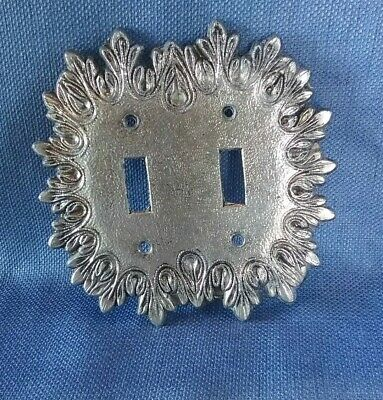 Vtg Metal Double Switchplate Cover Cool Design Silver Color