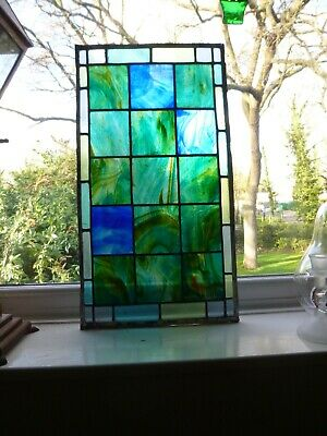Antique Vintage Original Stained Glass Window 15 panel plus 23 small side panel