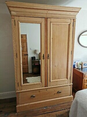 Antique  Pine Wardrobe - (137x57x214cm) - 4 part knockdown
