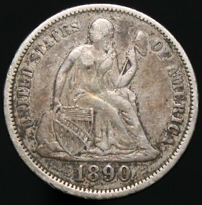 1890 | U.S.A. Seated Liberty One Dime | Silver | Coins | KM Coins