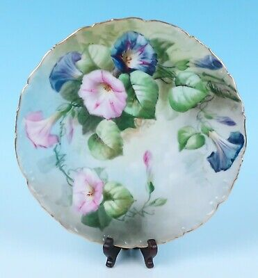 "T&V Limoges Hand Painted PETUNIA 9.5"" Porcelain Plate Gold Antique French Floral"
