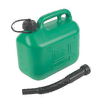 5 Litre Green Plastic Jerry Can Fuel Unleaded Pouring Spout Petrol Container New