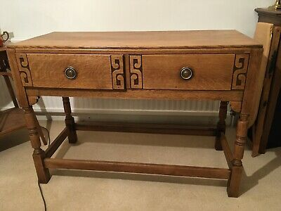 Stunning Vintage Solid Oak Hallway Table / Desk With 2 Drawers Fully Restored
