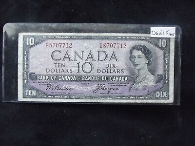 Bank Of Canada 1954 $10.00 Devil Face Note