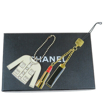 Auth Chanel 2 Sets Bag Charm Fashion Keyring (Gold,Silver) 08FA814