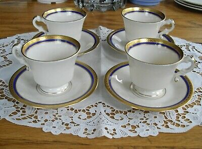 Vintage Syracuse China O.P.CO Old Ivory WAYNE Gold Encrusted Demitasse Cups Sauc