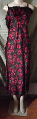 Red Black Floral Long Camisole Nightgown Jessica Simpson Adjustable Straps Large