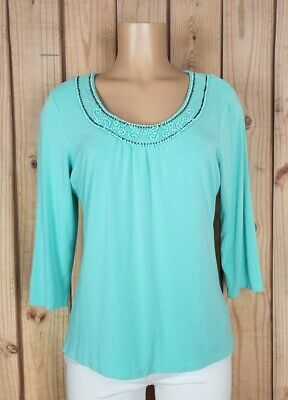 STYLE & CO Womens Size Large 3/4 Sleeve Shirt Beaded Neck Mint Green Rayon Top