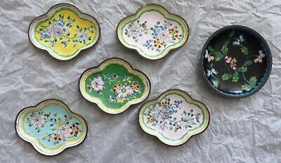 Antique 6 Old Small Chinese Enamel Cloisonne Plates Trinket Plates