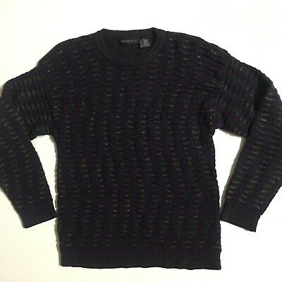 Vtg Jhane Barnes Mens size M Wool blend knit Navy gold striped textured Sweater