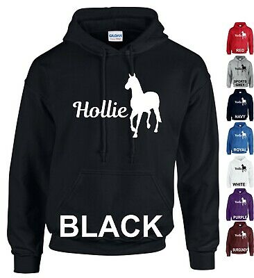 Personalised Hoodie Horse Riding Horse Love Pet Boys Girls Adults Kids Gift Tops