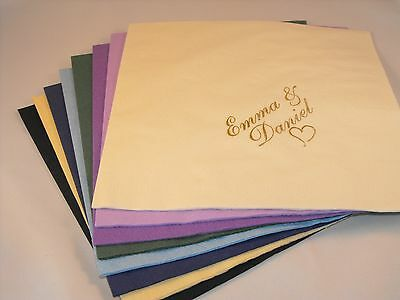100 x  Personalised luxury Dinner 3 Ply  Wedding  Serviettes