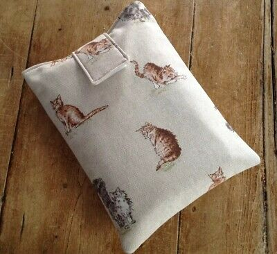Handmade Fabric Book Sleeve Protector Cover Pouch Scruffy Cat Fabric
