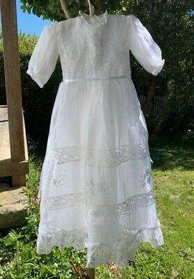 Beautiful Antique Vintage Baby Christening Dress & Cape White Gown Doll Or Baby