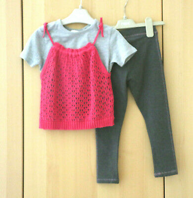 Next Girls Pink Knitted Cami + Grey T-shirt & Grey Leggings Age 5 Years BNWT