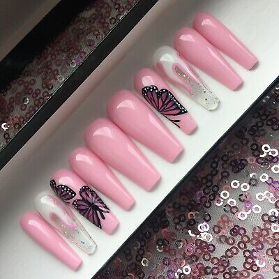 Hand Painted False Press On Nails Glitter Pink And White Flame Butterfly Coffin
