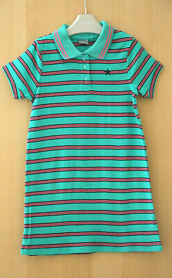 NEXT Girls Green Striped 100% Cotton Polo Shirt Dress Age 6 Years BNWT