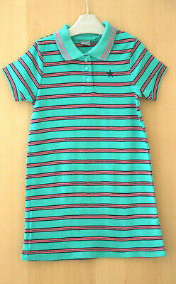 NEXT Girls Green Striped 100% Cotton Polo Shirt Dress Age 4 Years BNWT