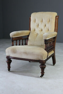 Antique Victorian Upholstered Button Back Gents Library Chair Armchair