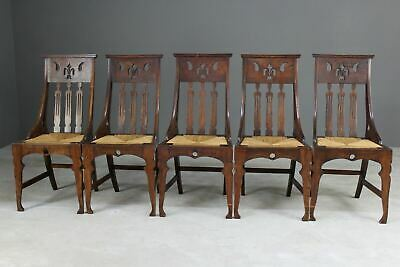 5 Antique Early 20th Century Vintage Oak Seagrass Arts & Crafts Dining Chairs