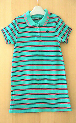 NEXT Girls Green Striped 100% Cotton Polo Shirt Dress Age 3 Years BNWT