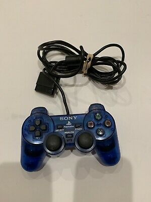 Sony Playstation 1 PS1 Official Clear Transparent Blue Controller Shock