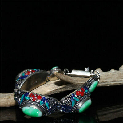"""8.27"""" Exquisite   Chinese White copper Cloisonne inlay Jade Handmade Bracelet"""