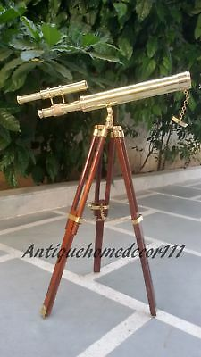 Nautical Brass Marine Navy Telescope Double Barrel With Wooden Tripod Stand Item