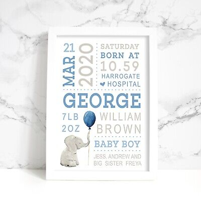 Personalised New Baby A4 Print, Pink, Neutral or Blue, Boy, Girl, Twins