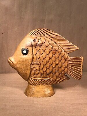 """8"""" Hand Carved Wood Art Home Decor Fish"""