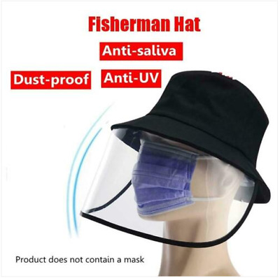 Fisherman Cap+Protective Clear Face Shield Saliva-proof Dust-proof Full Face Hat
