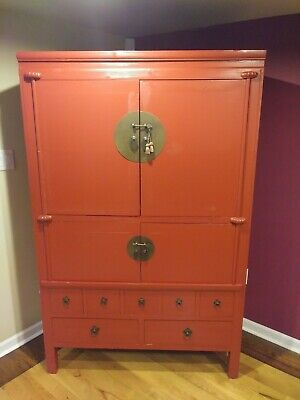 Asian/Chinese-Style Red Handmade TV/Storage Cabinet with Metal Hardware