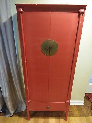 Asian/Chinese-Style Red Handmade Armoire/Wardrobe/Storage Cabinet