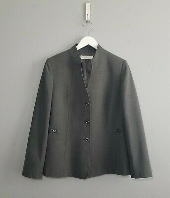 Tahari By ASL Womens Sz 14 Grey Mandarin Collar Three Button Front Blazer Jacket
